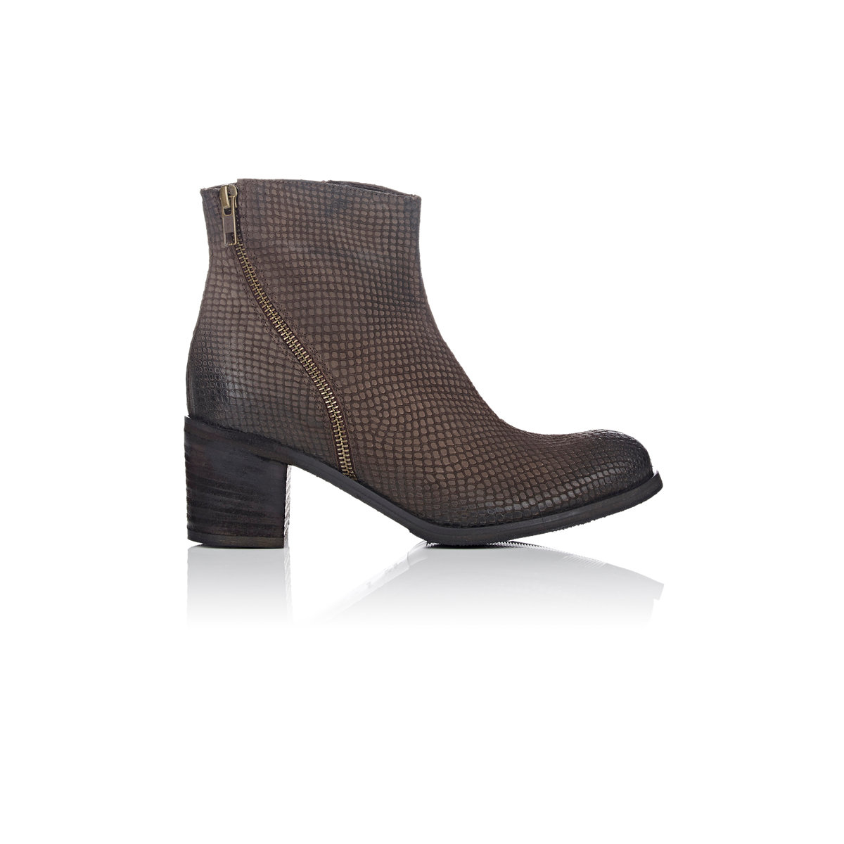 barneys new york asymmetric zip ankle boots in brown lyst