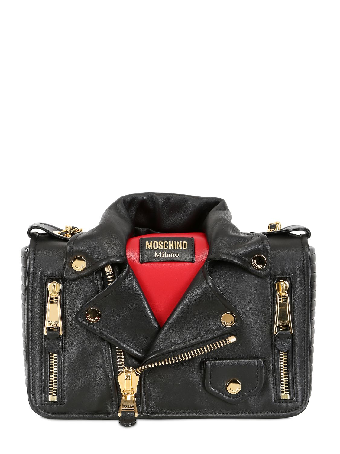 Moschino Biker Jacket Nappa Leather Shoulder Bag In Red Lyst
