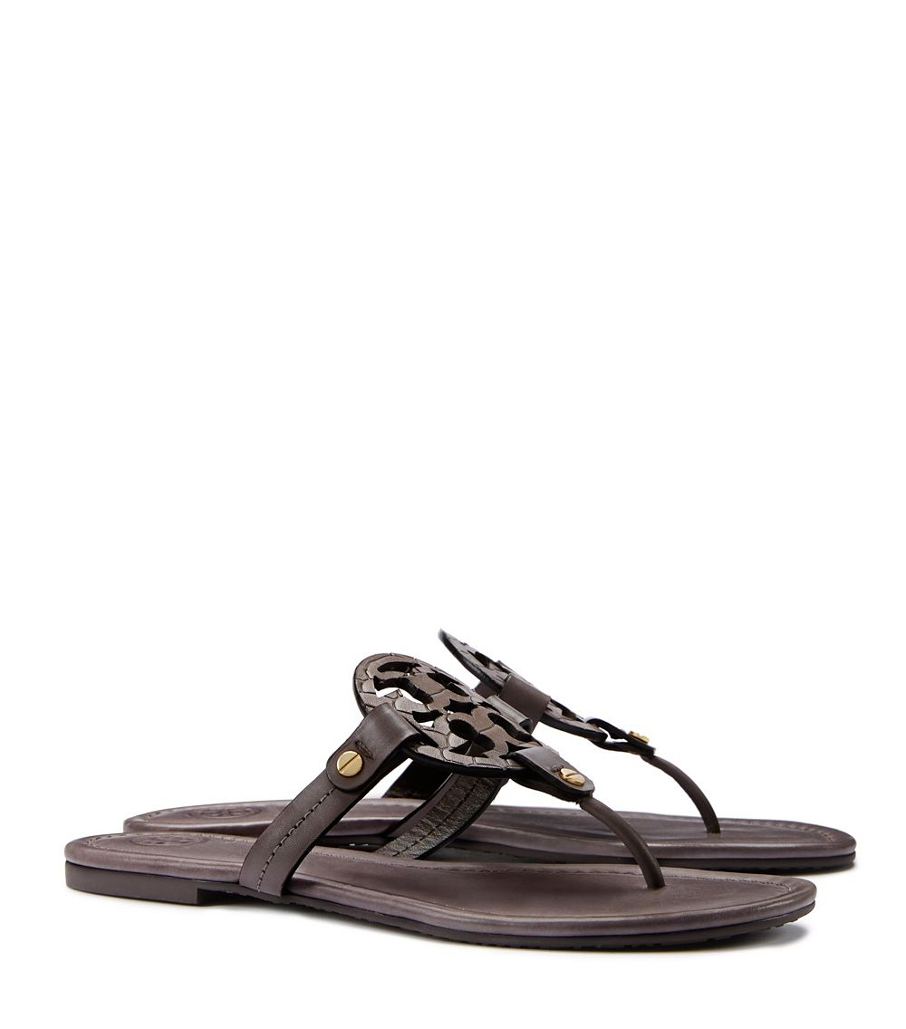 tory burch miller sandal in brown taupe lyst. Black Bedroom Furniture Sets. Home Design Ideas