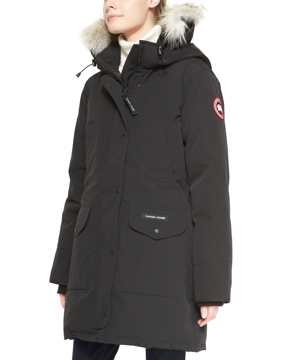 canada goose trillium furhood parka jacket in black lyst. Black Bedroom Furniture Sets. Home Design Ideas