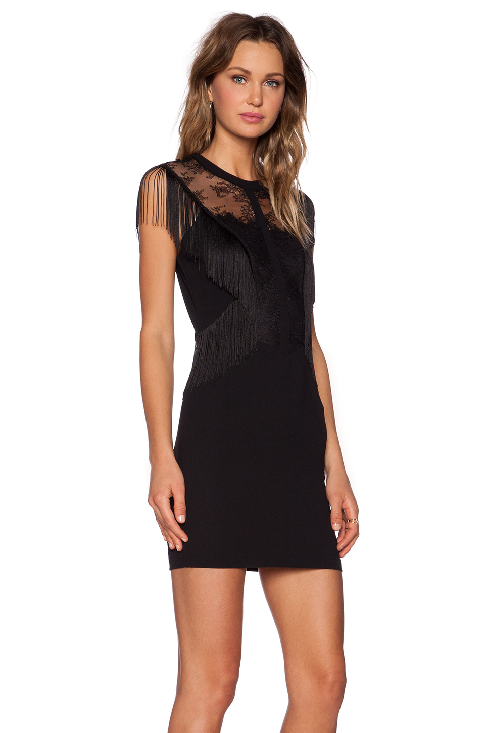 6a9d24c623a The Kooples Fringed Lace Dress in Black - Lyst