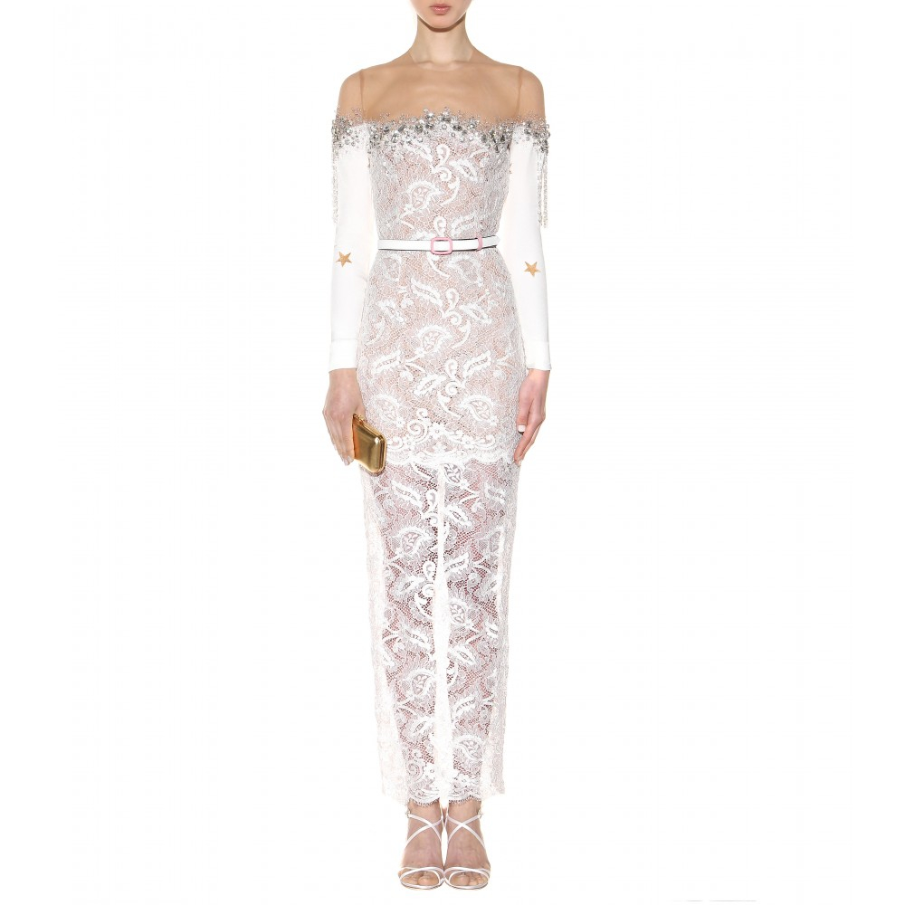 d2c761514f6f Lyst - Alessandra Rich Ankle-Length Crystal-Embellished Lace Dress ...