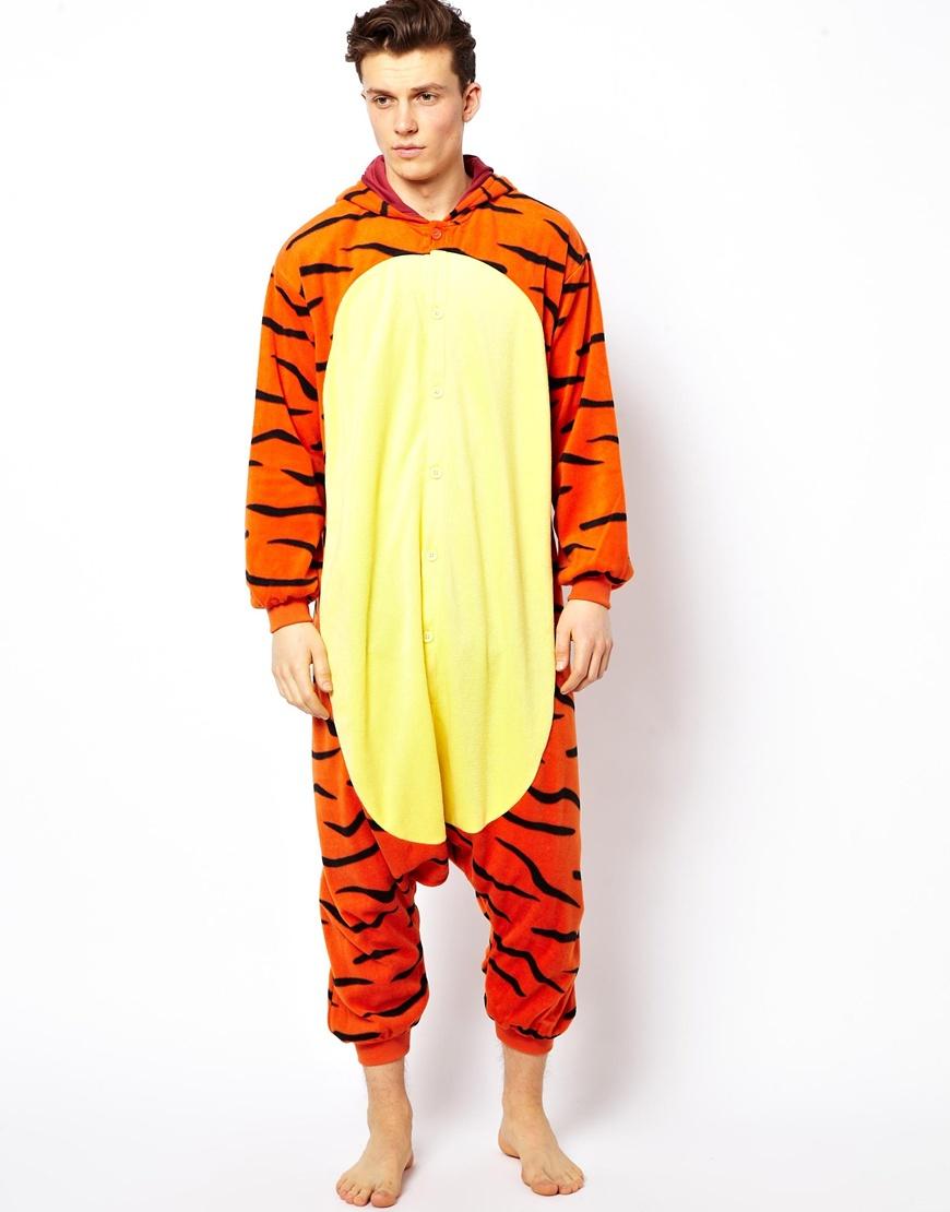 Kigu tigger onesie in orange for men lyst for Mens dress shirt onesie