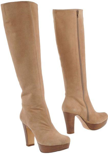 pura knee high high heel suede boots in beige sand