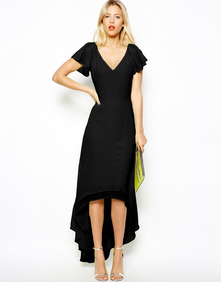 Asos High Low Hem Maxi Dress in Black | Lyst