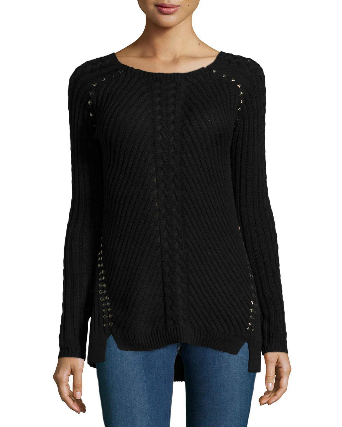 aed8640f7b Lyst - Philosophy Studded High-low Sweater in Black