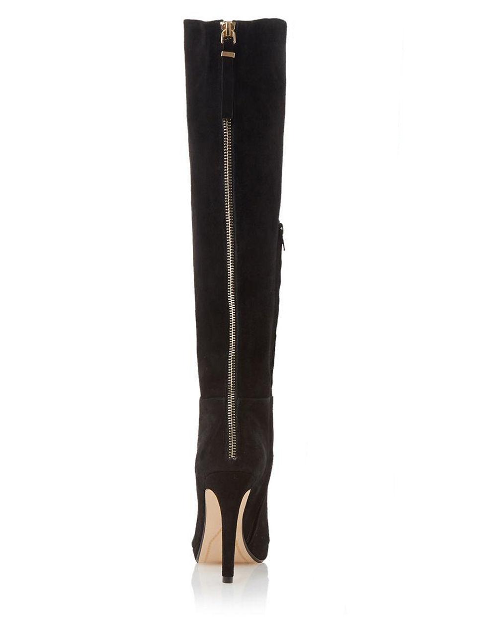 dune skyler suede knee high boots in black lyst