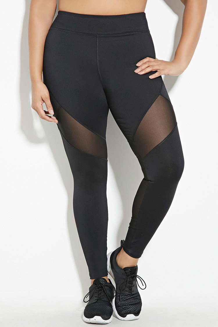 Forever 21 Plus Size Mesh-insert Leggings in Black | Lyst
