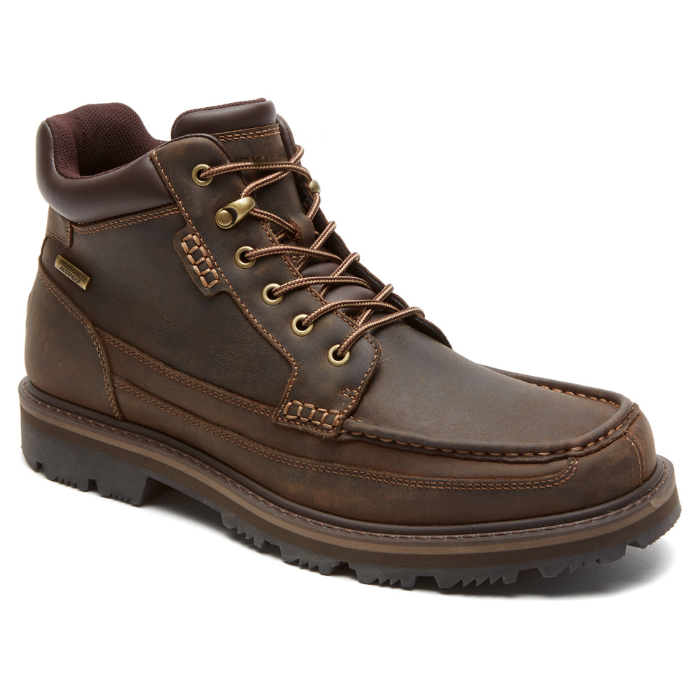 rockport gentle moc mid wp boot in brown for lyst