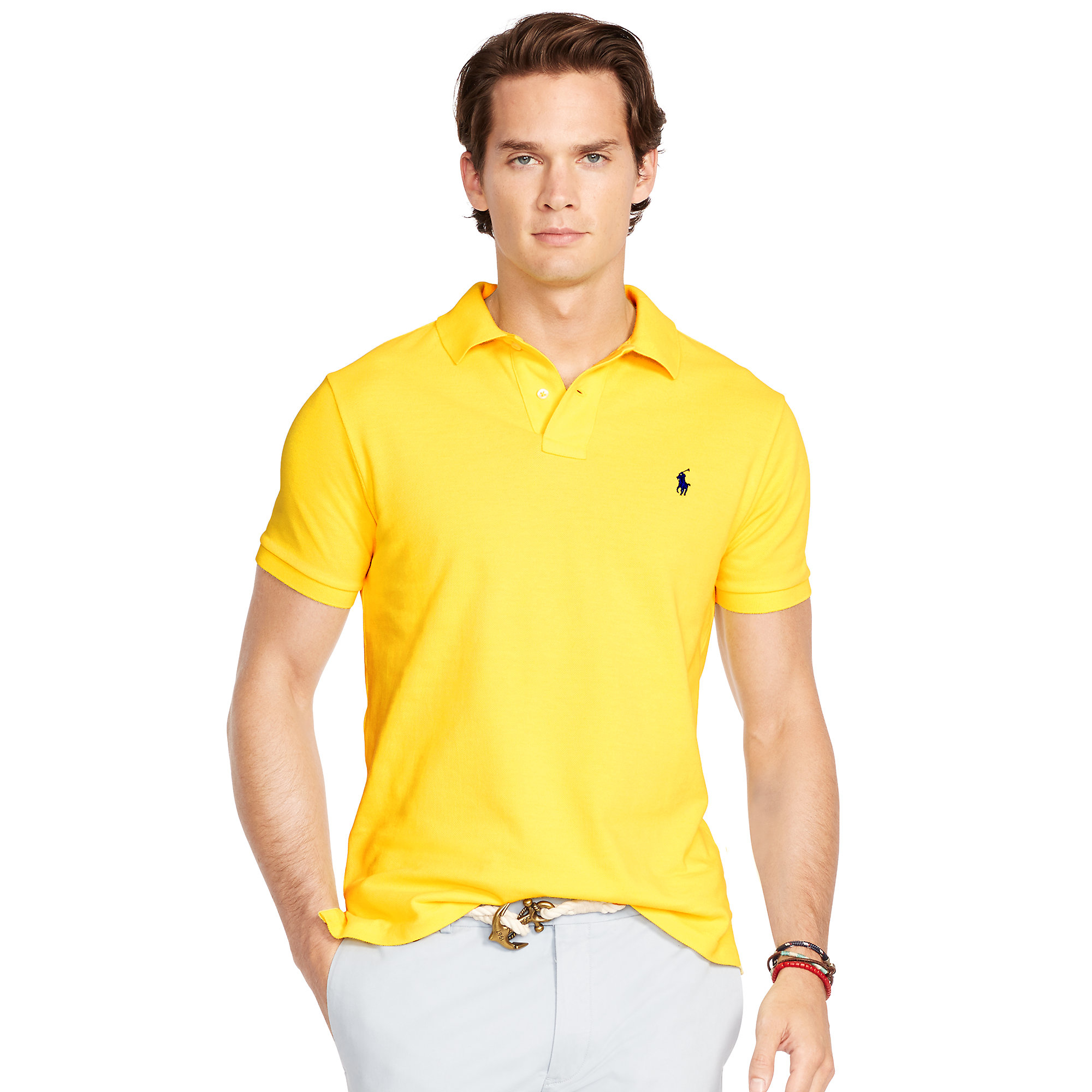 9f53afc30 Polo Ralph Lauren Slim-fit Mesh Polo Shirt in Yellow for Men - Lyst