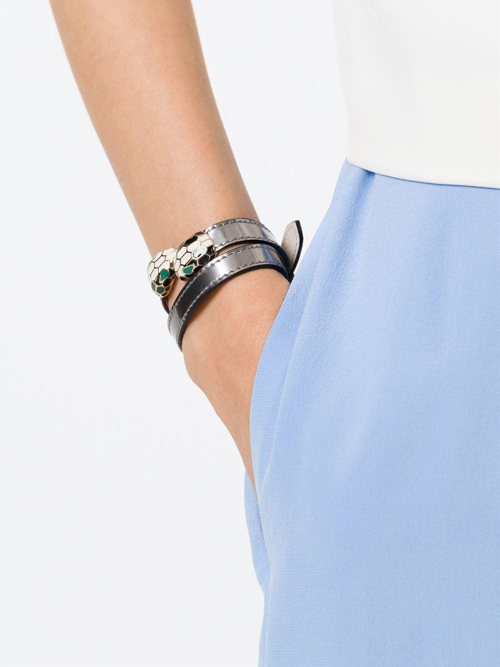 Lyst Bvlgari Serpenti Head Wrap Bracelet In Gray