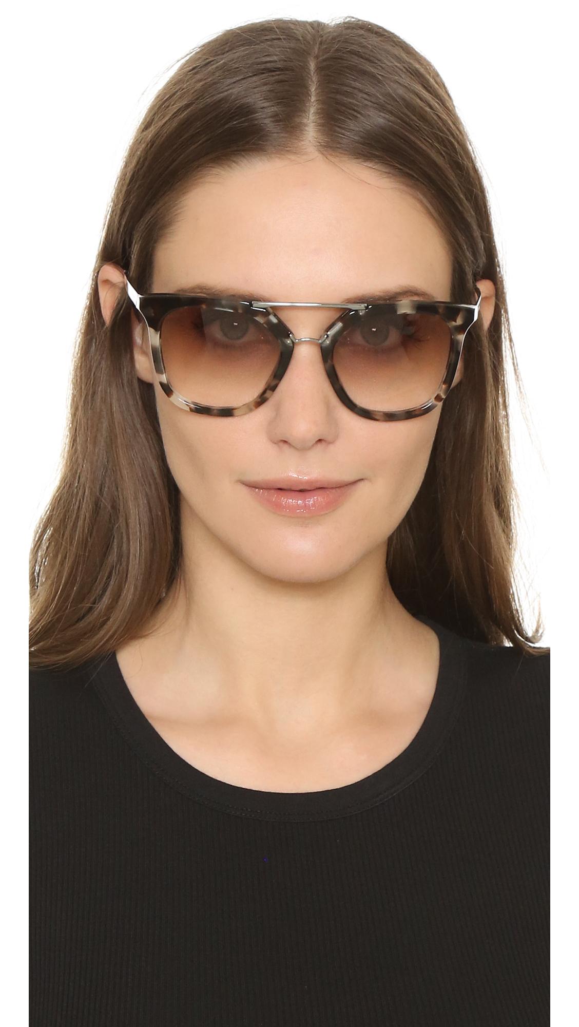 ca240af0b Prada Thick Frame Aviator Sunglasses in Brown - Lyst