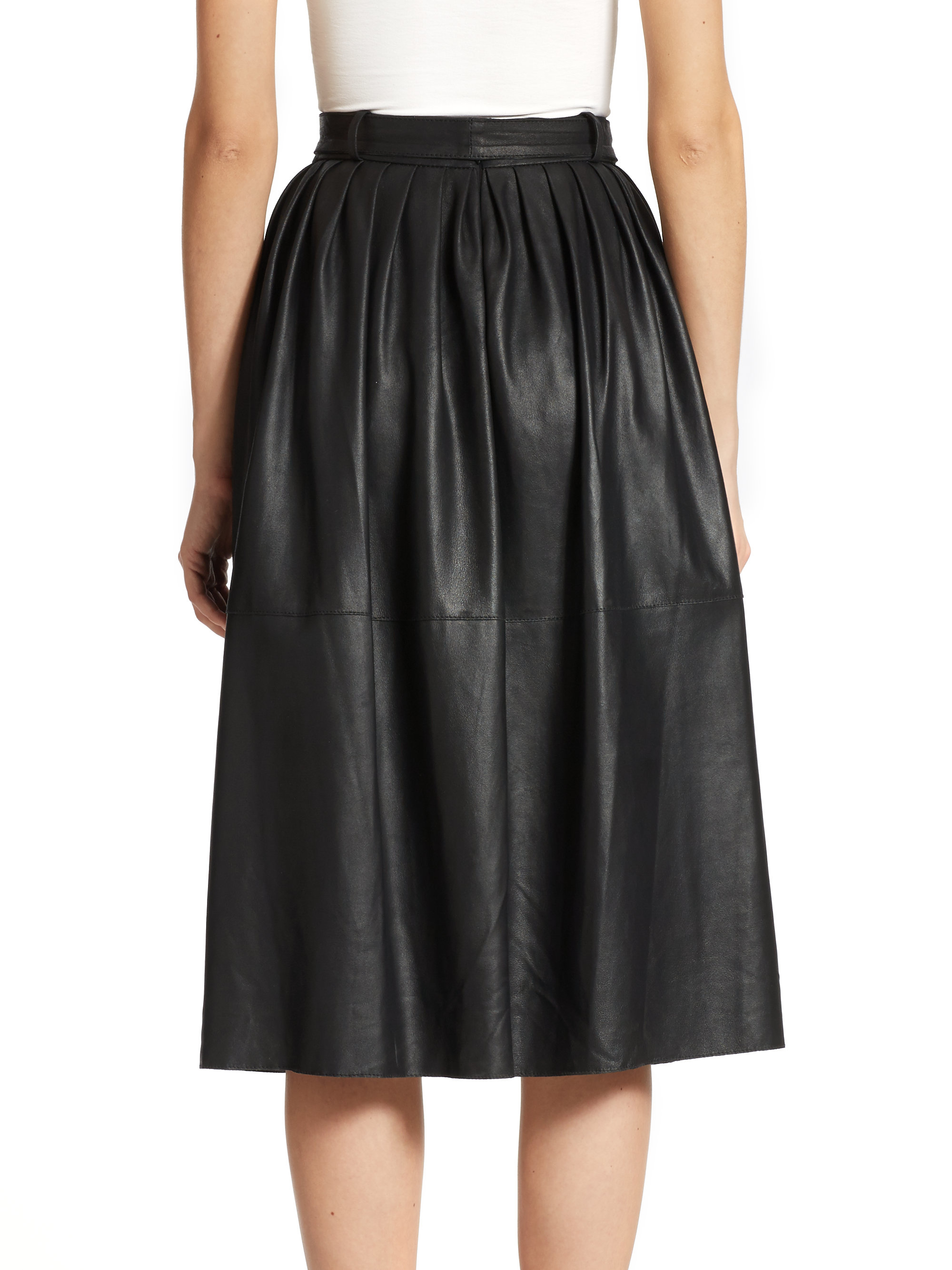 armani leather midi skirt in black lyst