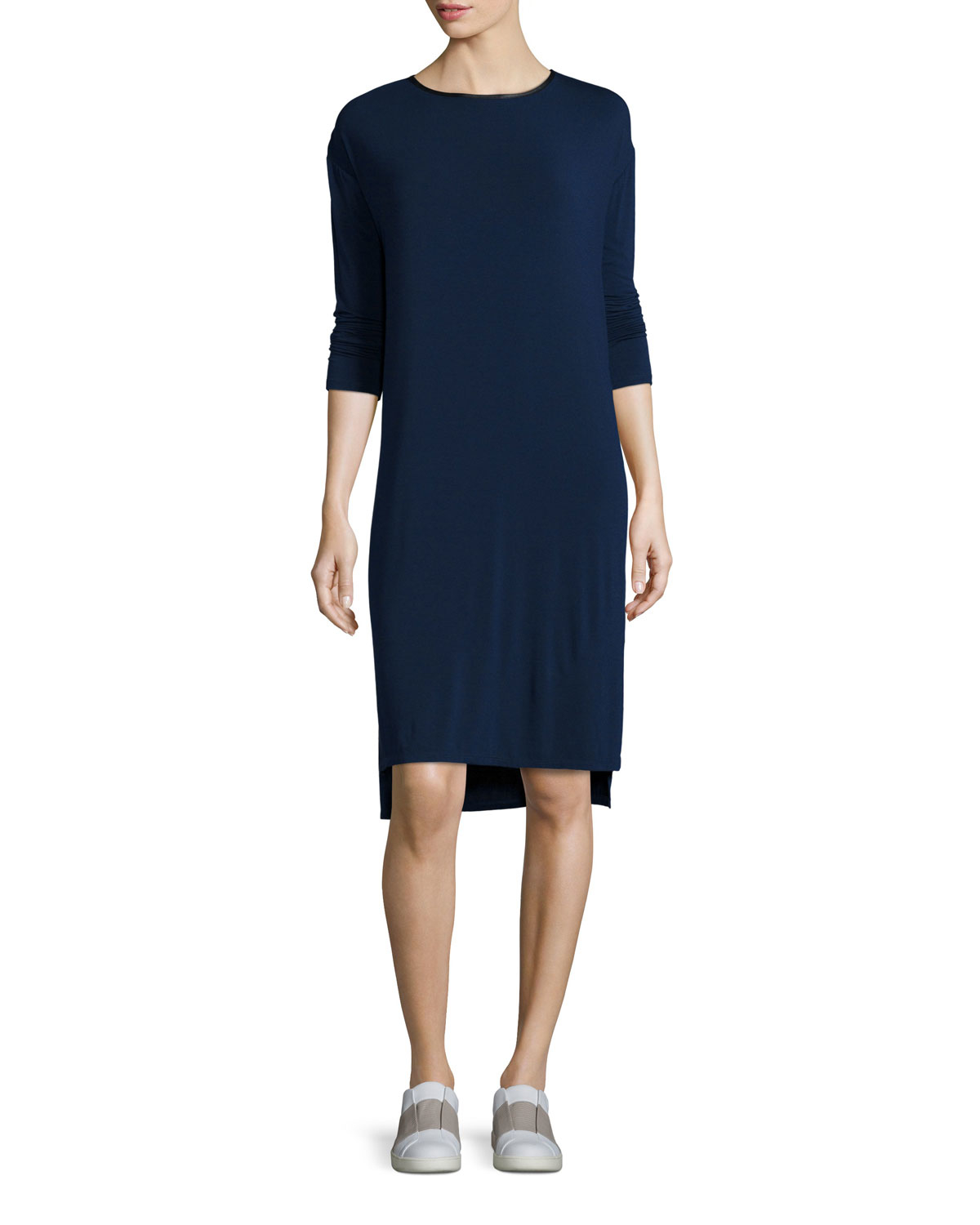 Vince leather trim t shirt dress in blue lyst for Vince tee shirts sale