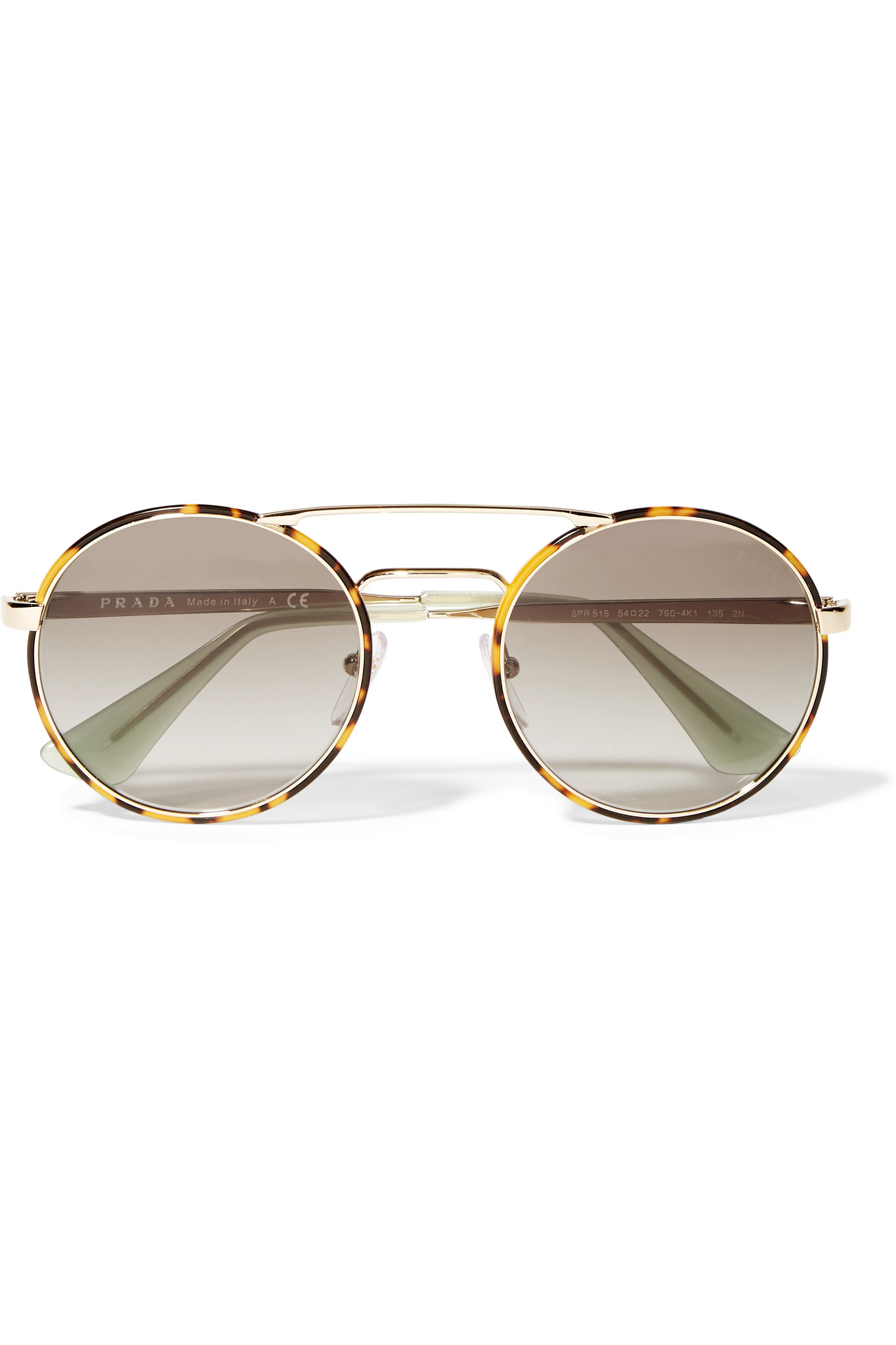 015c77cf835b3 ... release date prada round frame acetate and gold tone sunglasses in  brown lyst 8167e 33ee7