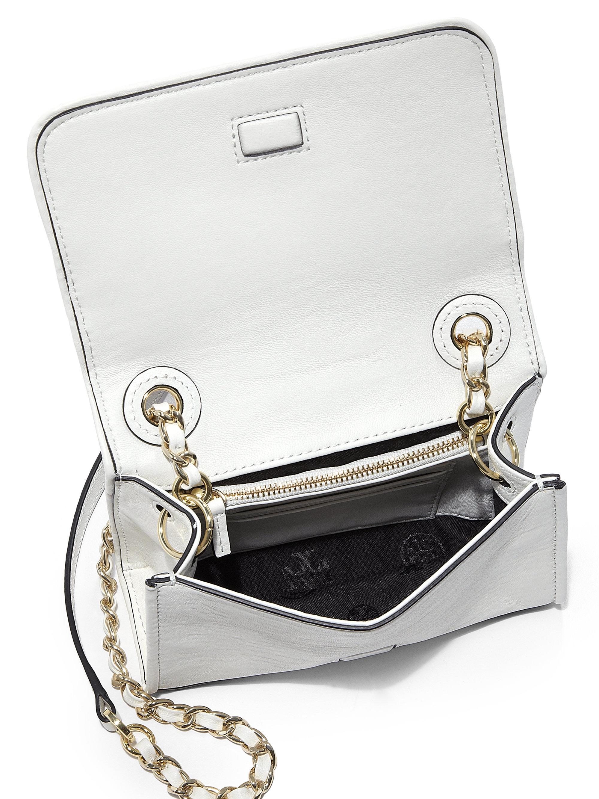 c8a8371027a4 Lyst - Tory Burch Fleming Mini Crossbody Bag in White