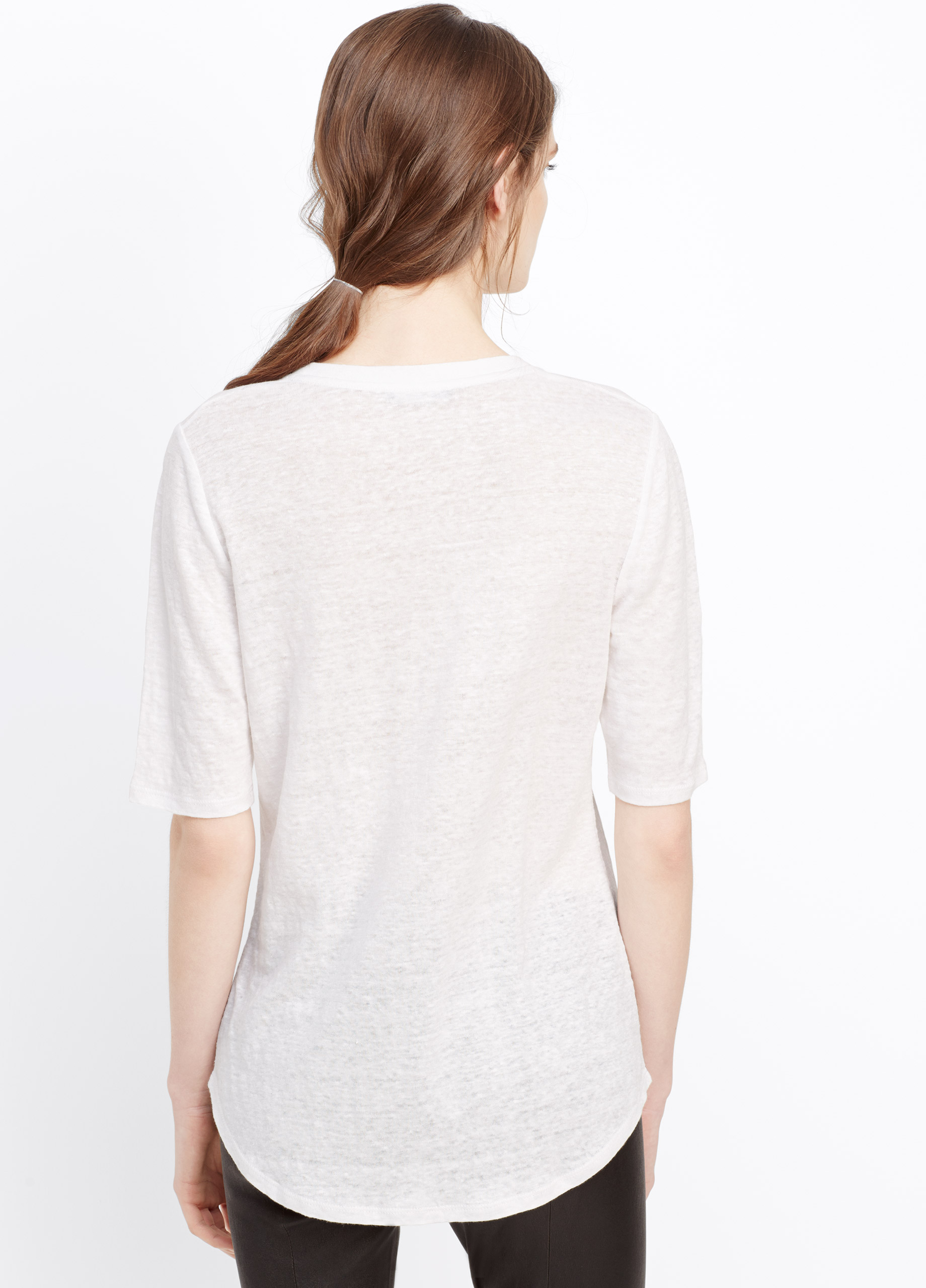 Vince Elbow Sleeve Linen Tee In White Optic White Lyst