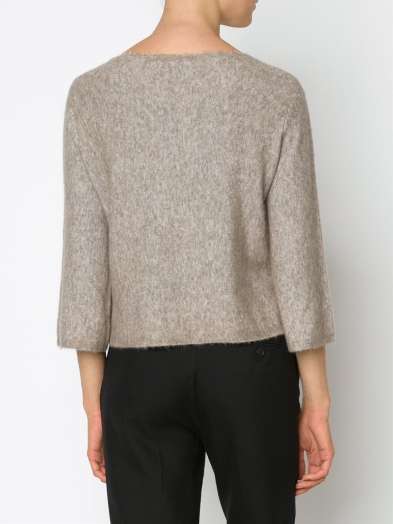 3.1 phillip lim Cropped Boxy Sweater in Natural | Lyst