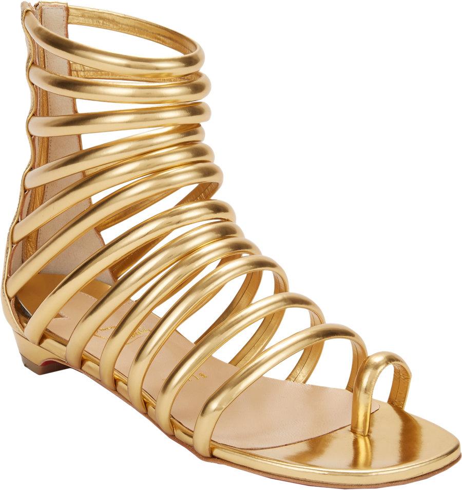 christian louboutin gold flat sandals