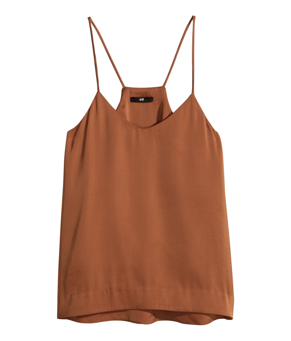 H&M Satin Top In Brown