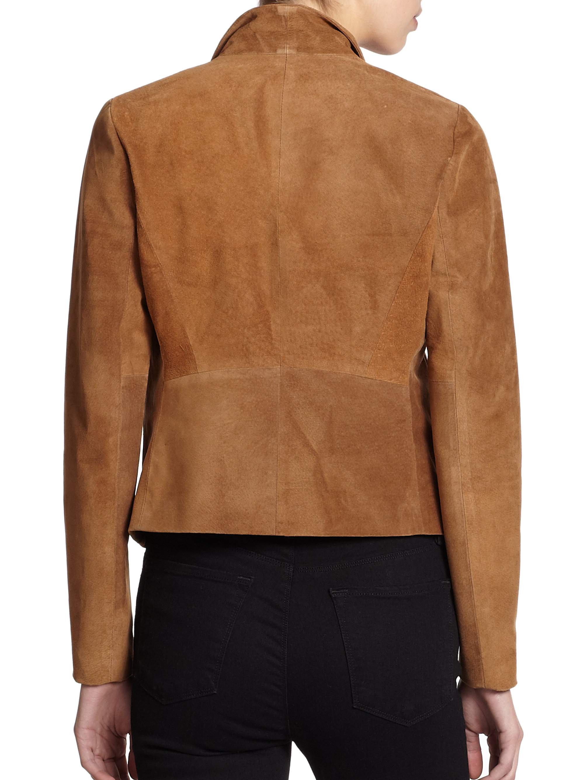 Lyst Theory Kanya Cropped Suede Jacket In Brown