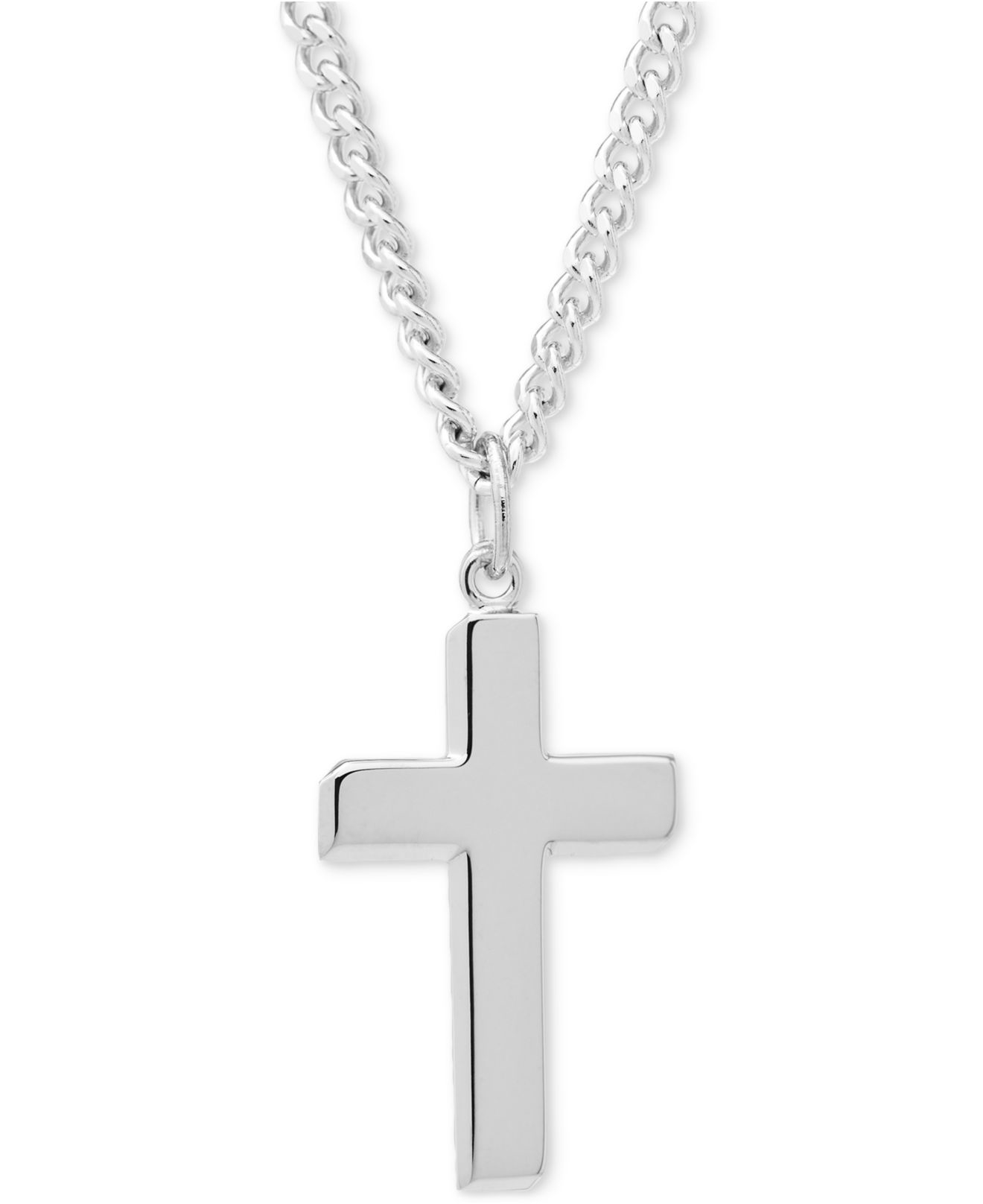 macy 39 s simple cross pendant necklace in sterling silver in. Black Bedroom Furniture Sets. Home Design Ideas
