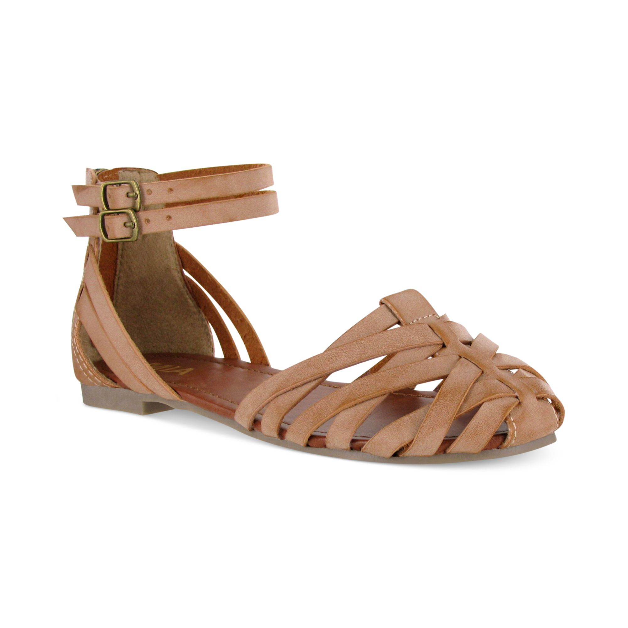 Mia Barricade Huarache Flats In Brown Lyst
