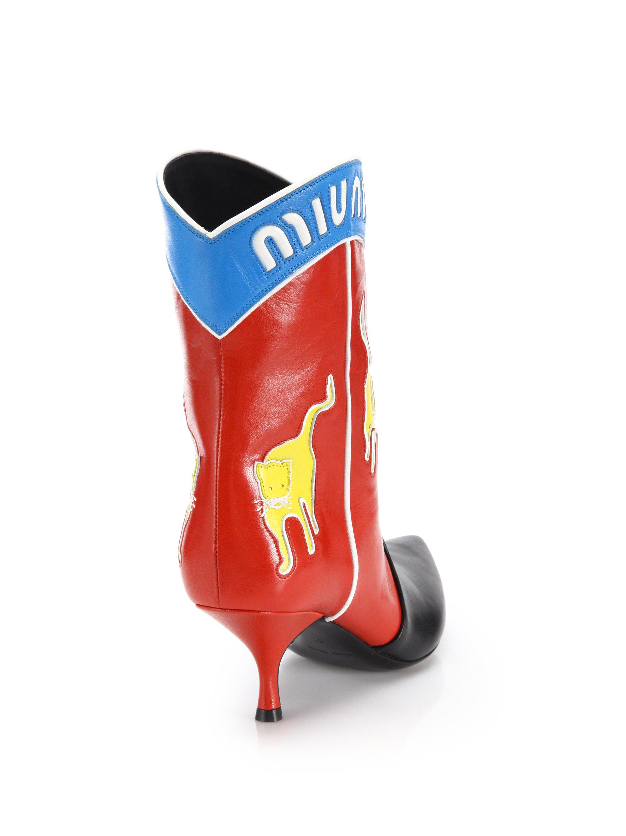 Miu Miu Leather Western Boots J33WtFp