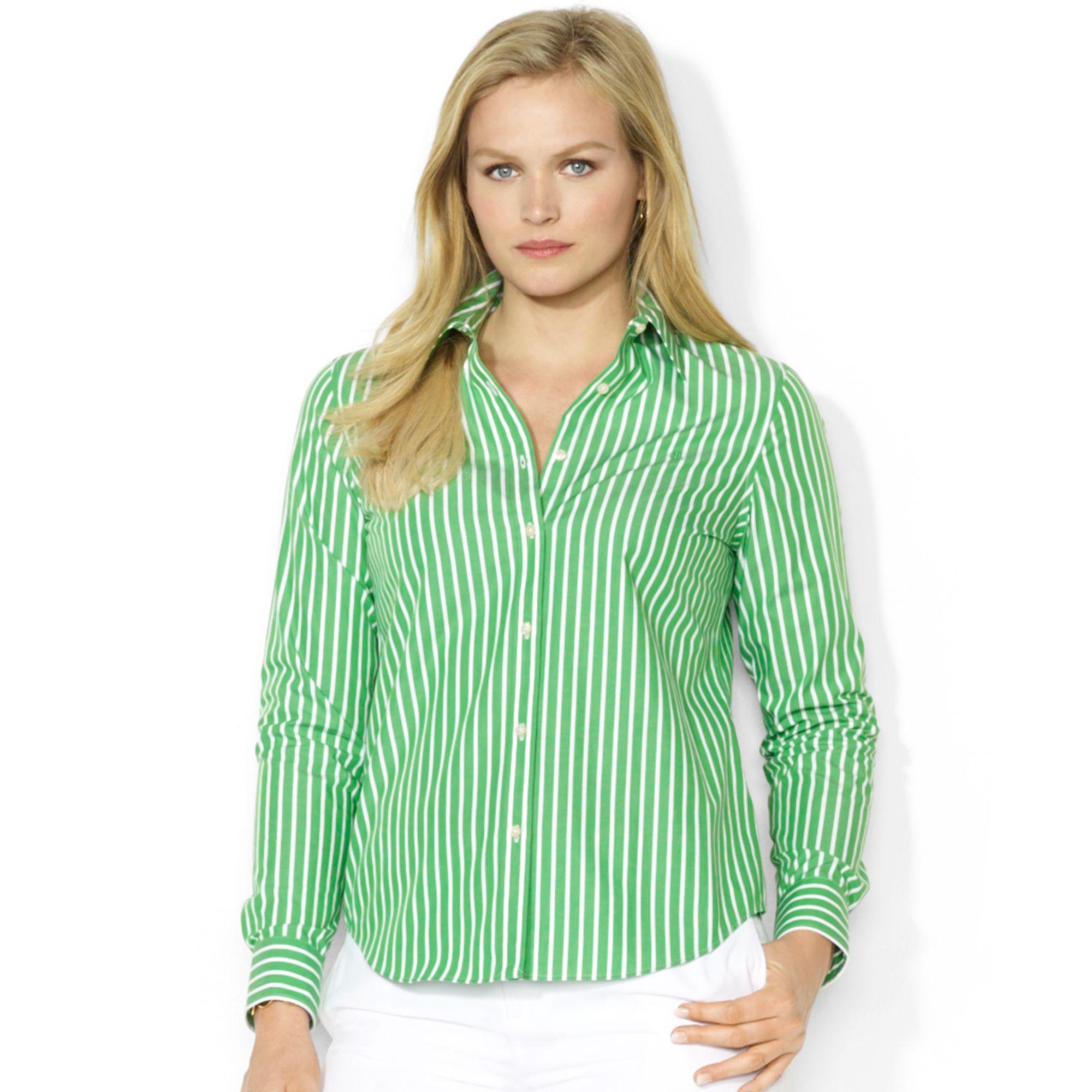 e0026390f5ed69 ... low price lyst lauren by ralph lauren plus size striped shirt in green  07898 19417