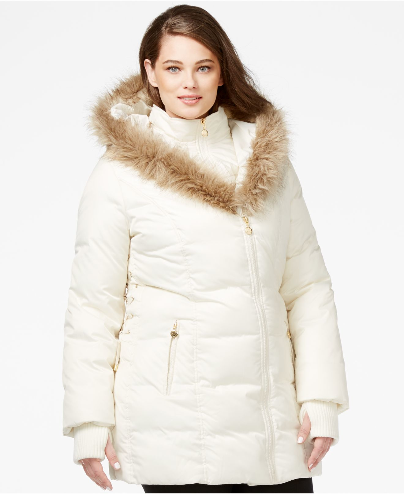 Betsey johnson Plus Size Faux-fur-trim Quilted Puffer Coat in ...