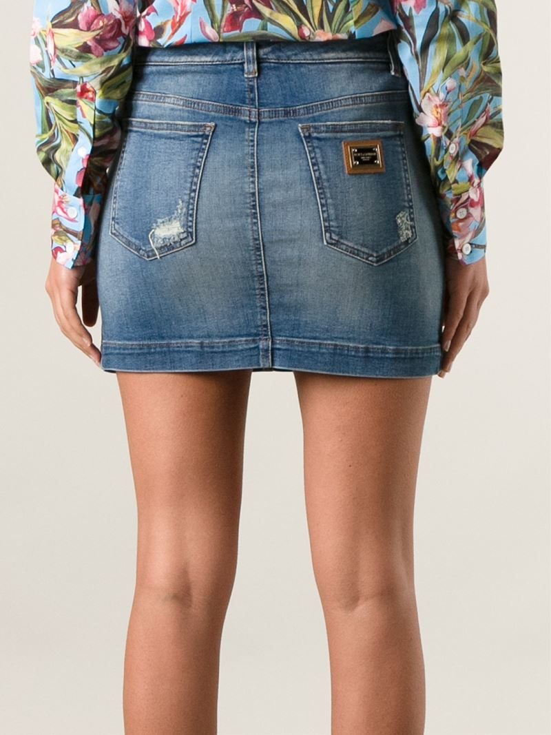 Dolce & gabbana Denim Mini Skirt in Blue | Lyst