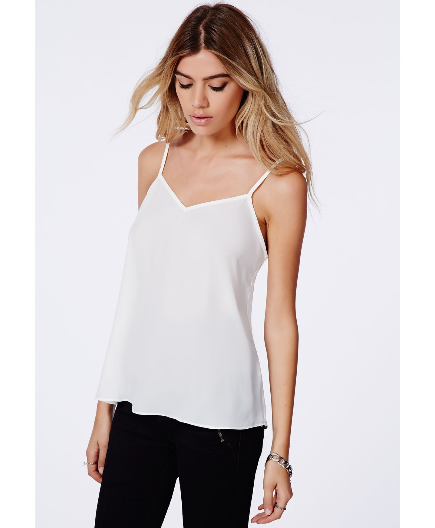 Missguided Samala Chiffon Cami Top In White in White - Lyst e1c9d4ee7