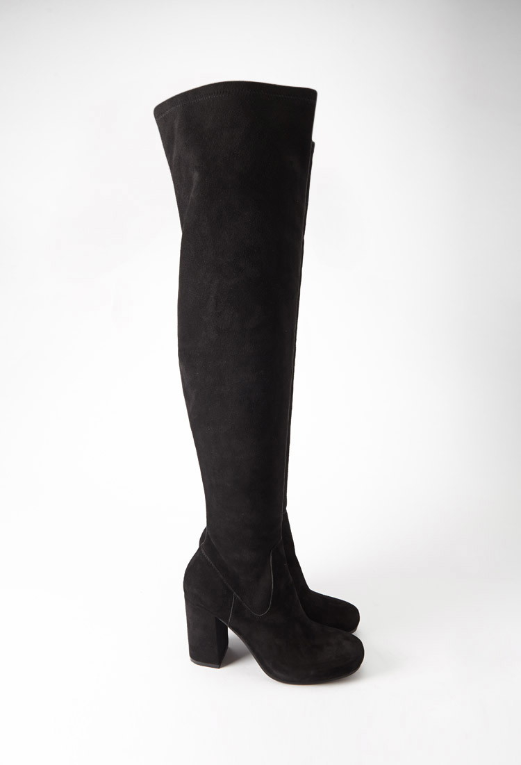forever 21 the knee genuine suede boots in black lyst