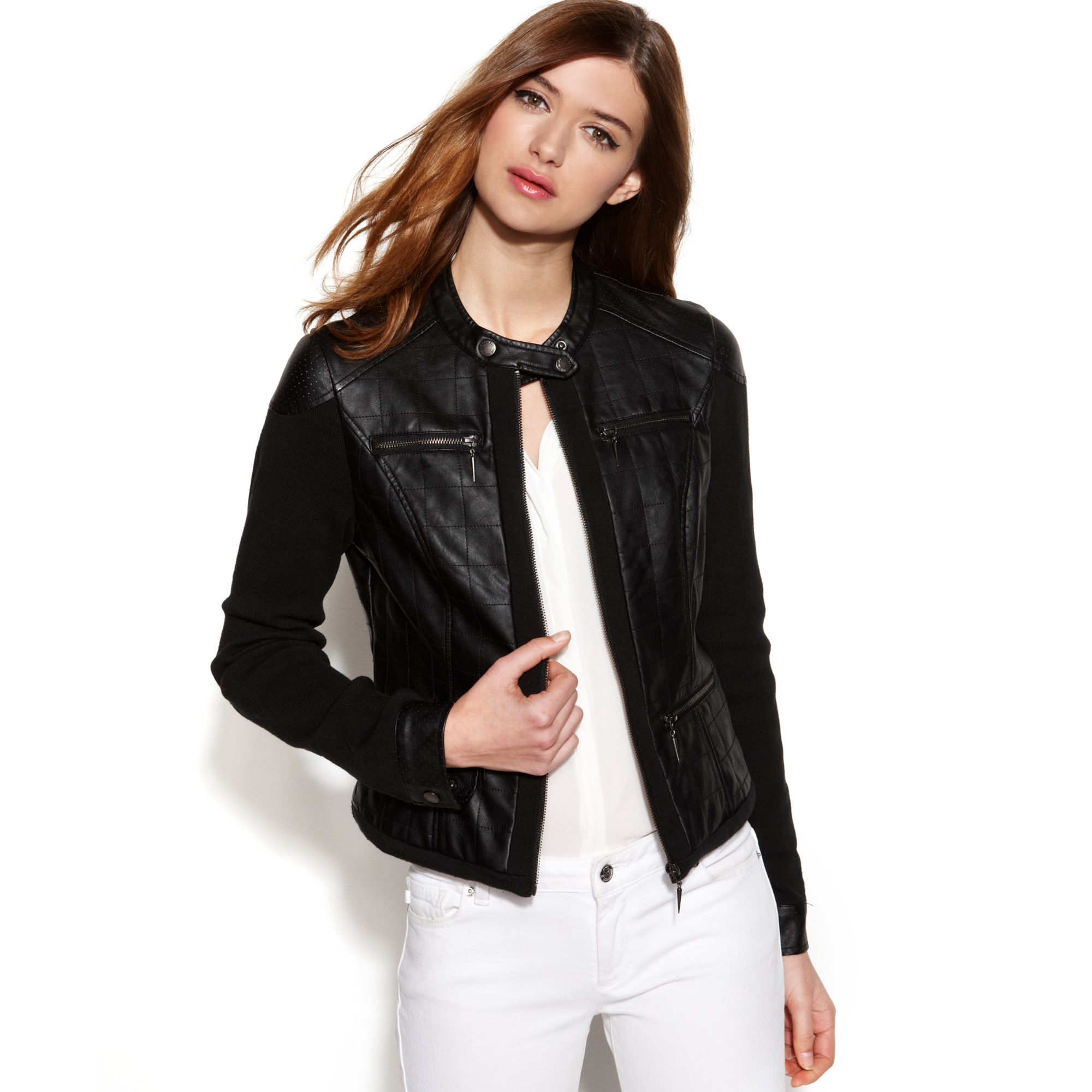 4018f9f0ed574 RACHEL Rachel Roy Quilted Mixedmedia Fauxleather Jacket in Black - Lyst