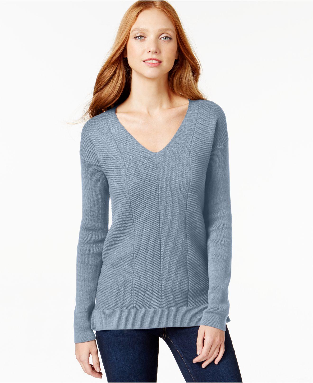 calvin klein jeans v neck knit sweater in blue gloomy. Black Bedroom Furniture Sets. Home Design Ideas