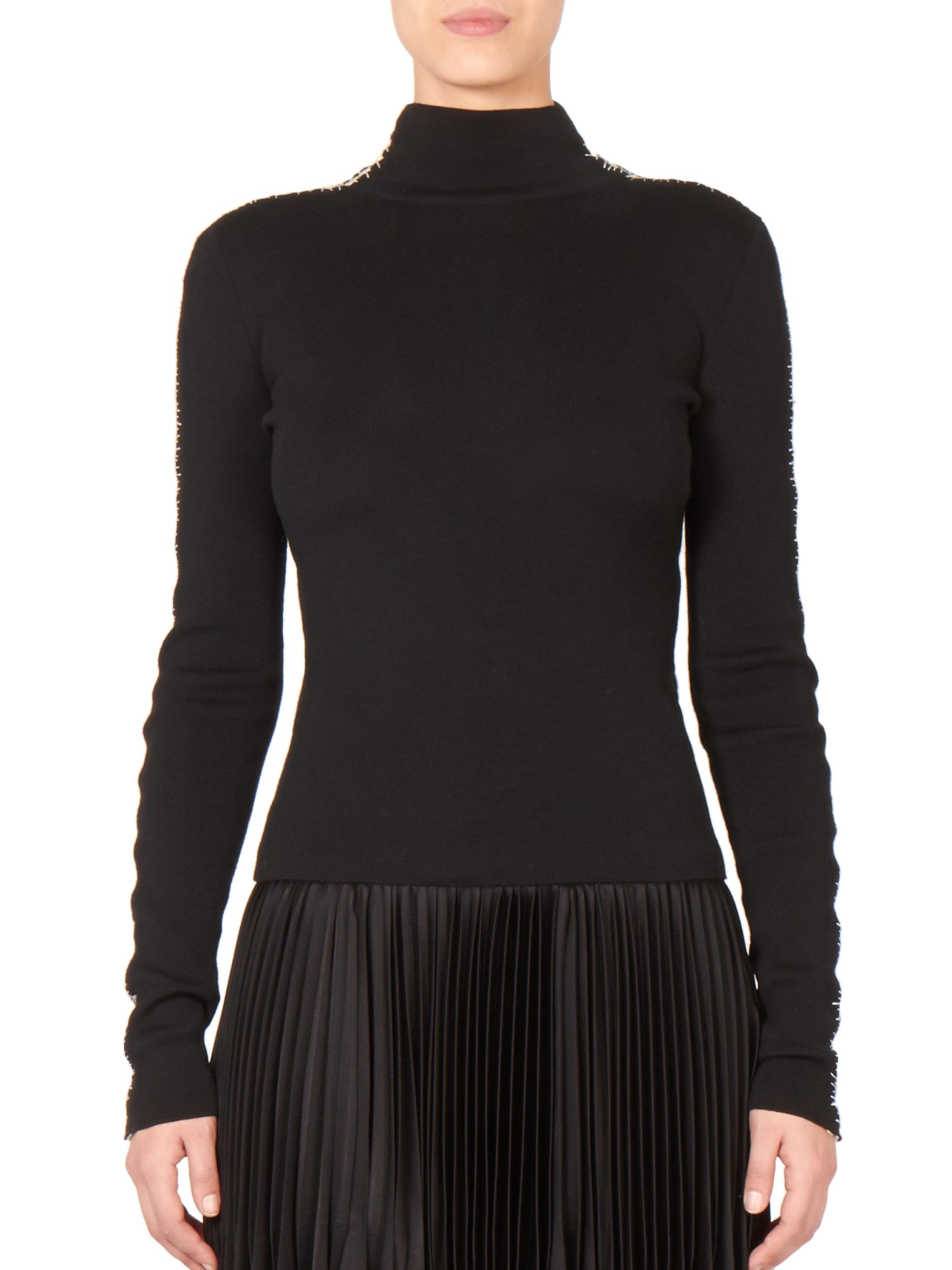 haider ackermann stitched turtleneck sweater in black lyst. Black Bedroom Furniture Sets. Home Design Ideas