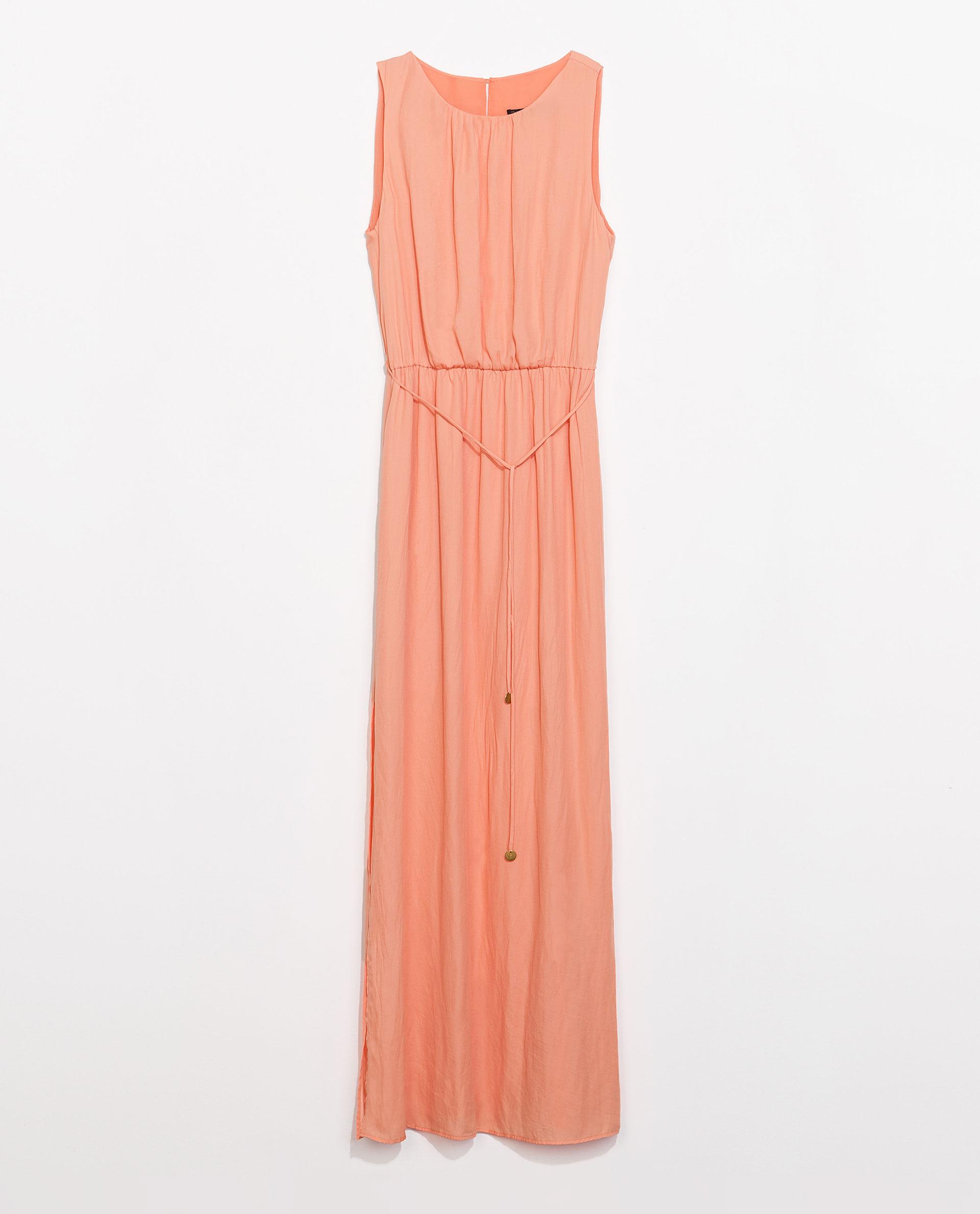 Zara Maxi Dress with Belt in Orange | Lyst