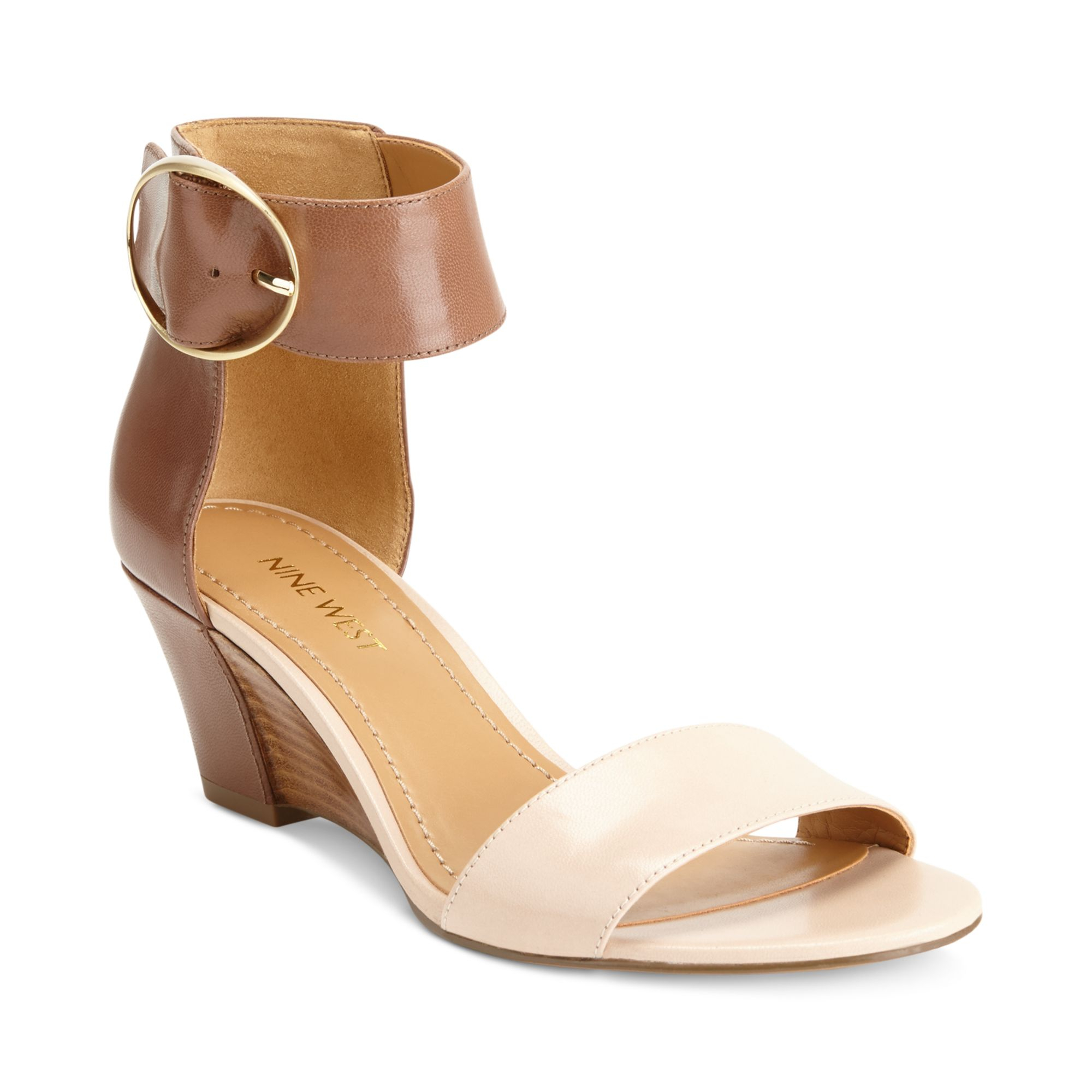 005e2748b57 Lyst - Nine West Ventana Ankle Strap Demi Wedge Sandals in Brown