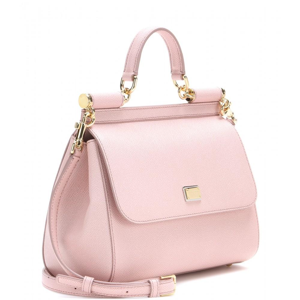 11f71c92ab Dolce   Gabbana Miss Sicily Mini Leather Shoulder Bag in Pink - Lyst