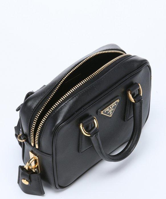 prada woman bag - Prada Black Saffiano Leather Mini Convertible Top Handle Bag in ...