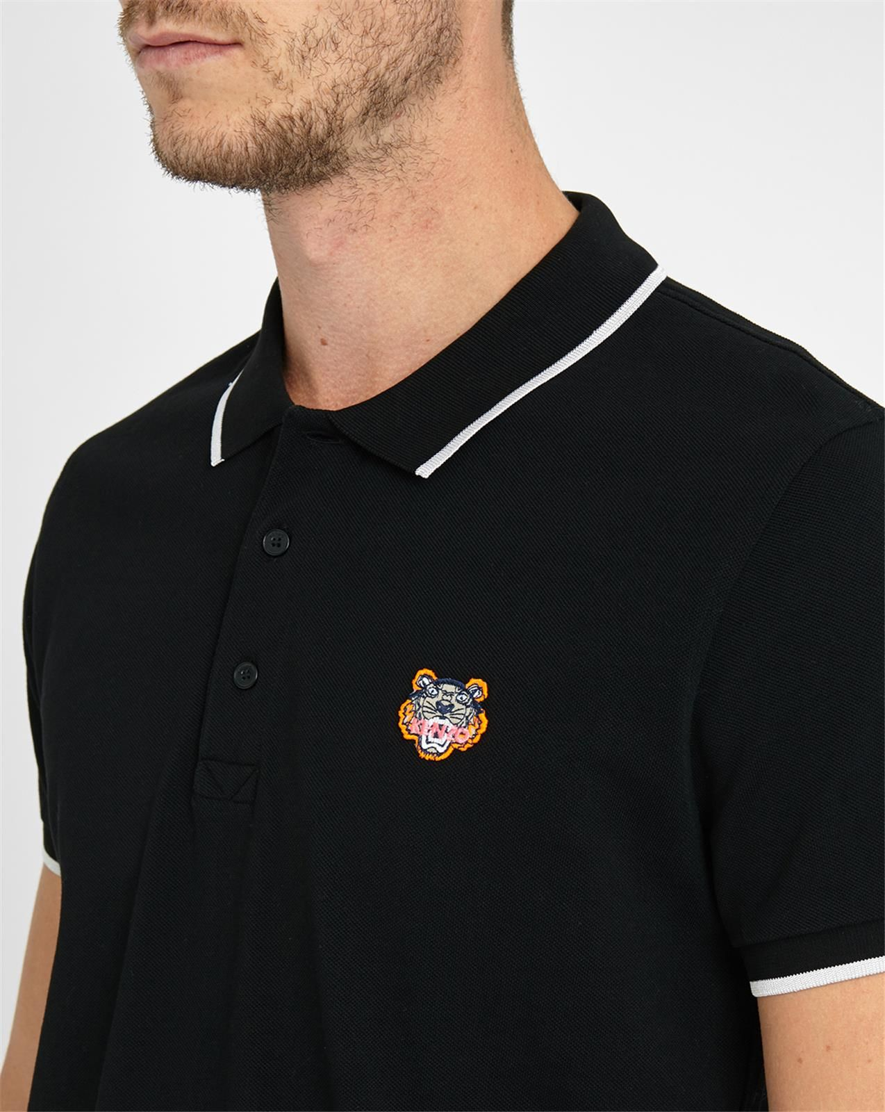 kenzo black polo shirt with contrasting white collar in. Black Bedroom Furniture Sets. Home Design Ideas