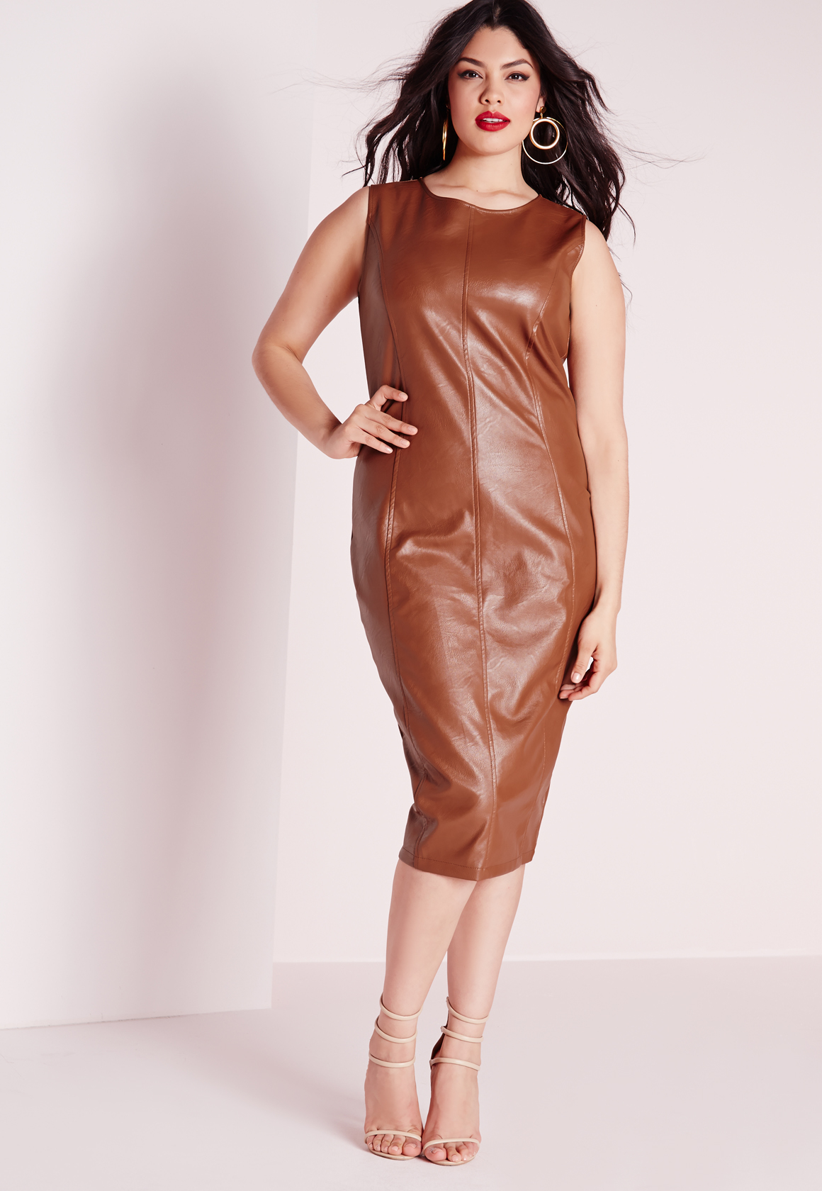 8c170be3d44 Lyst - Missguided Plus Size Leather Zip Back Midi Dress Tan in Brown