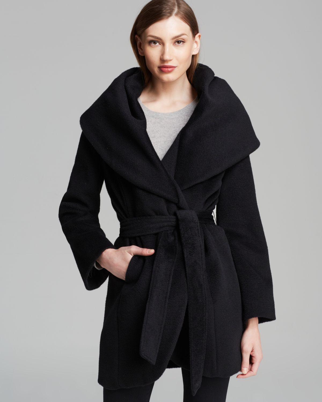 Elie tahari Coat - Marla Wool Wrap in Black | Lyst