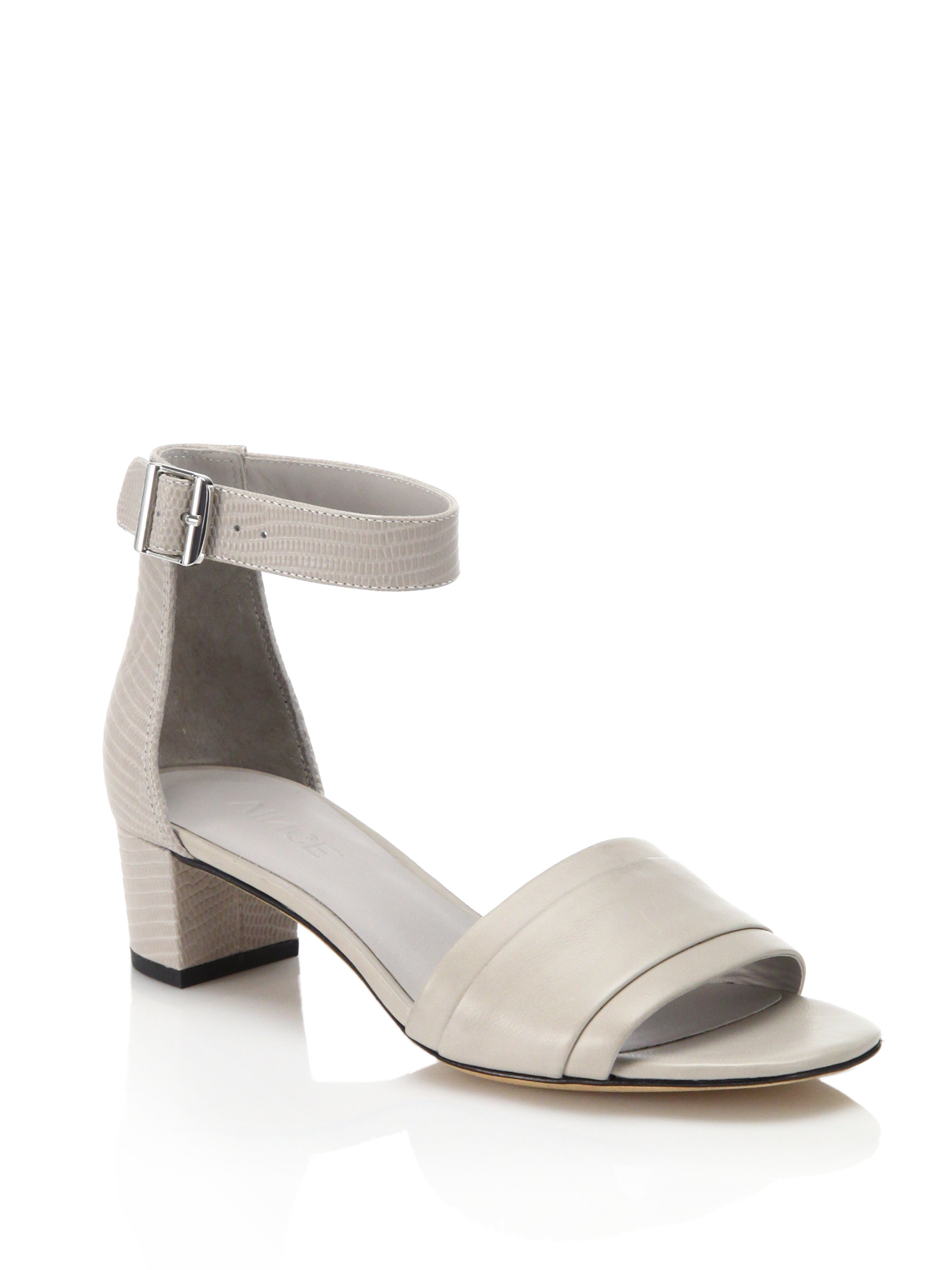 a68a3566c9 Vince Raine Leather Mid-heel Sandals in Gray - Lyst