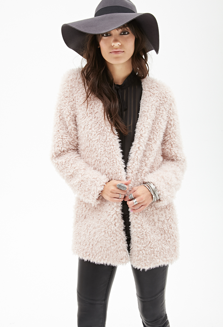 Forever 21 Collarless Faux Shearling Coat You've Been Added To The ...