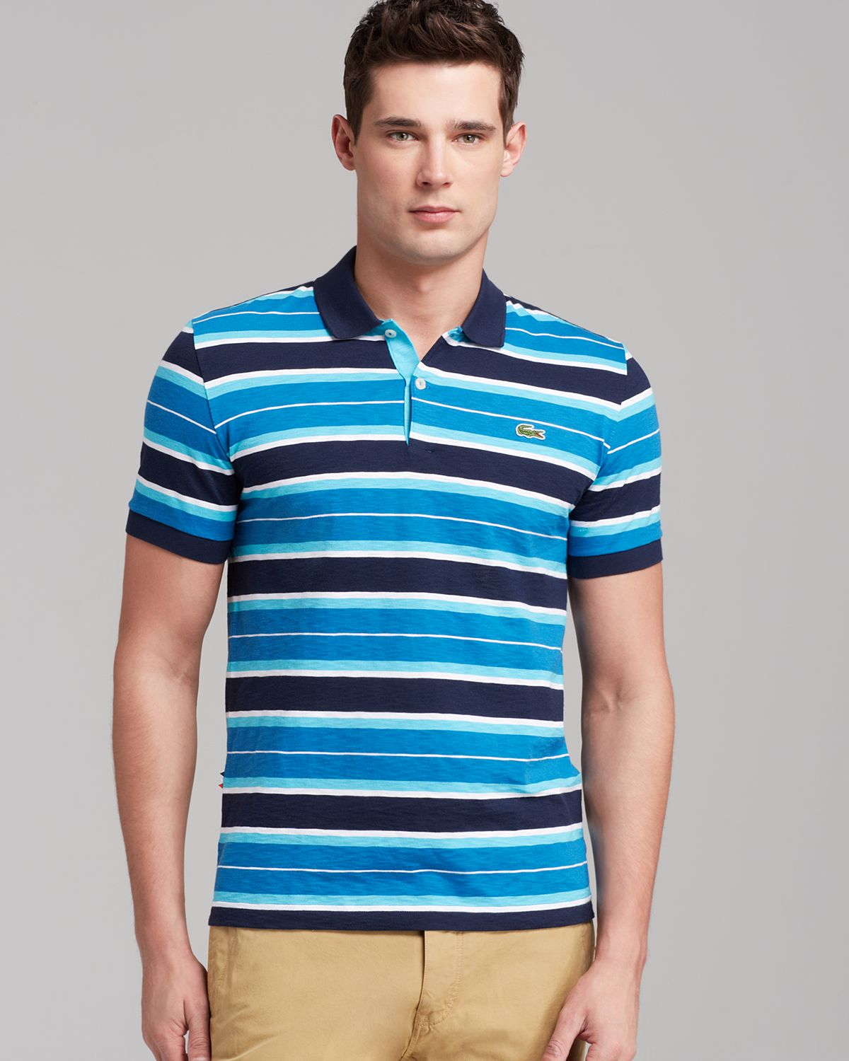 0ef2ad2570bfea Lyst - Lacoste Lve Ultraslim Jersey Multi Slim Fit Polo in Blue for Men