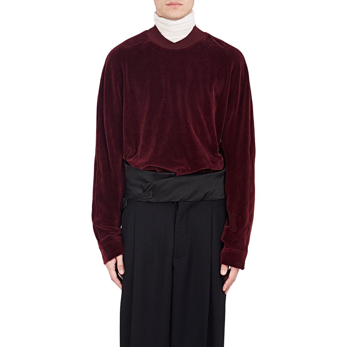 Haider Ackermann Ribbed Inset Velvet Sweatshirt In Red For