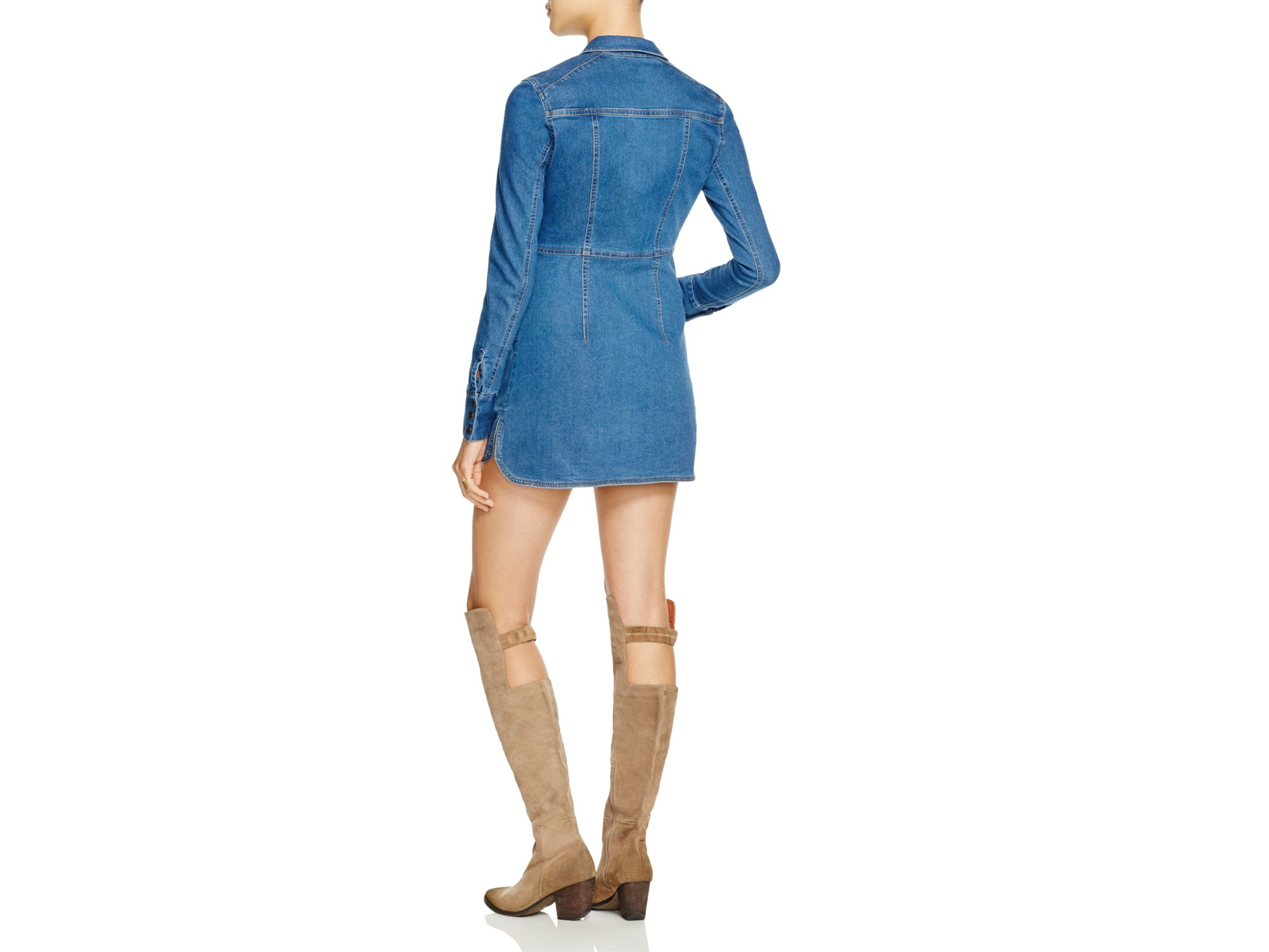 1fe6fd57ec Lyst - Free People Dynomite Denim Mini Dress in Blue