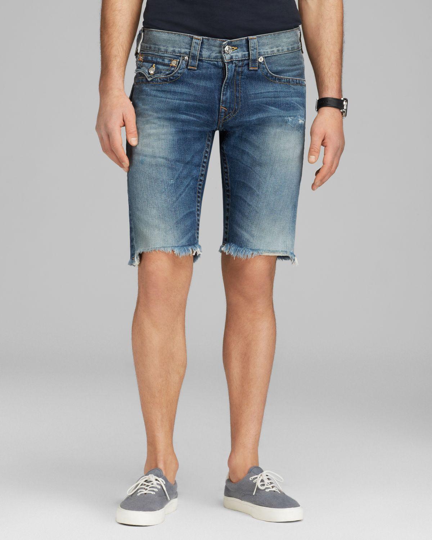 True religion Ricky Cut Off Shorts in Blue for Men | Lyst