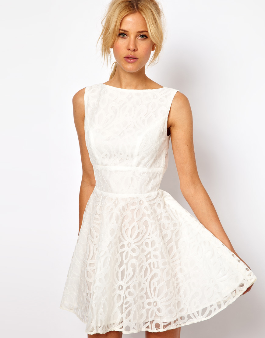 Asos Lace Full Skirted Dress with Cut Out Back in White | Lyst